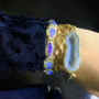 Geode Inspired Gold Bangle