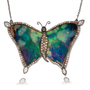Black Opal and Natural Diamond Butterfly Pendant