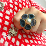 Geode and Baroque Pearl Camellia Ring