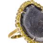 Black Geode and Yellow Diamond Ring