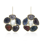 Geode and Baroque Pearl Camellia Earrings