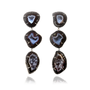 Dark Geode Detachable Triple Drop Earrings