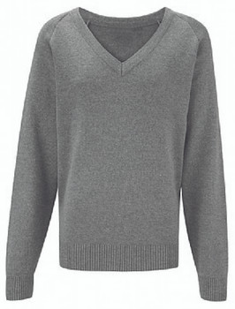 Pullover Plain V Neck Grey