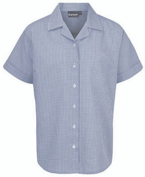 Short Sleeve Blue Check Blouses Twin Pack