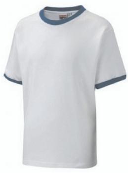 White T-Shirt With Blue Trim
