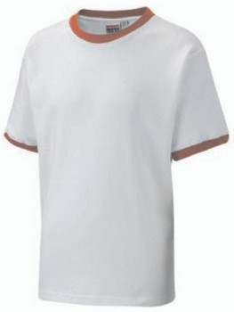 White T-Shirt With Red Trim
