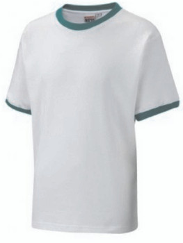 White T-Shirt With Green Trim