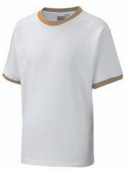 White T-Shirt With Yellow Trim