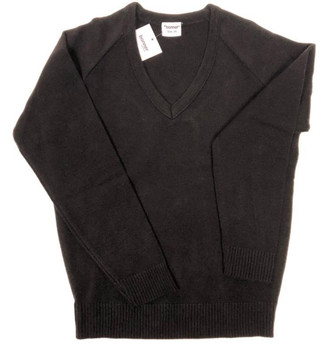 Pullover Plain V Neck Black