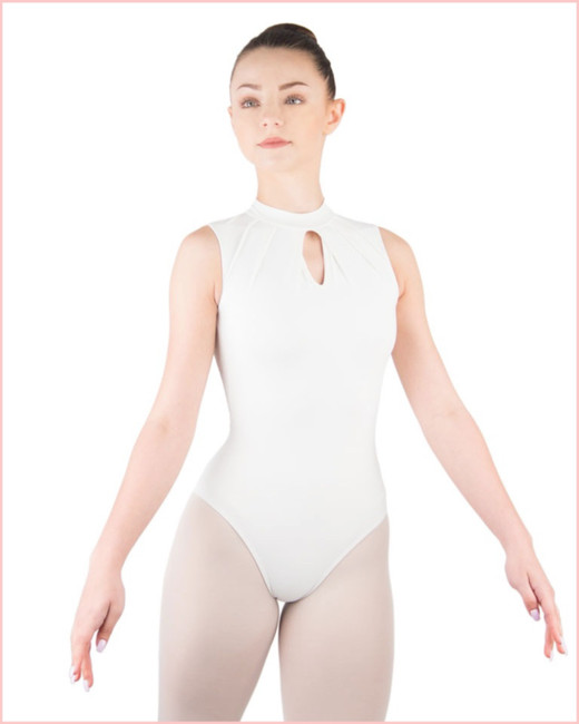 Celestine Pleated High Neck Leotard - Blanc