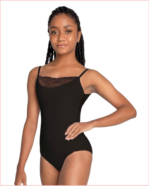 Abrielle Camisole with Lace Insert - Black