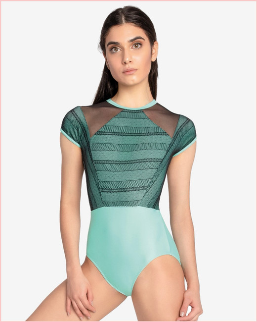 Faustina Cap Sleeve with Striped Mesh Overlay - Mint & Black