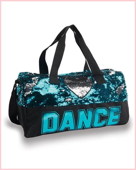 Dance Sequin Heart Duffel - Turquoise