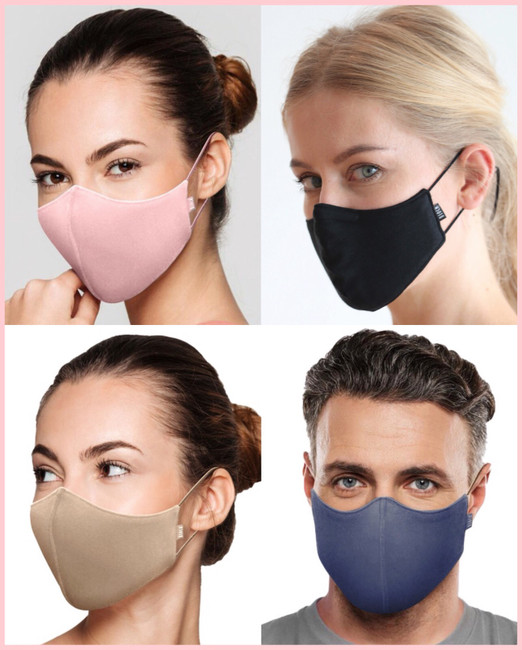Solid Color Face Mask w/Lanyard - Adult