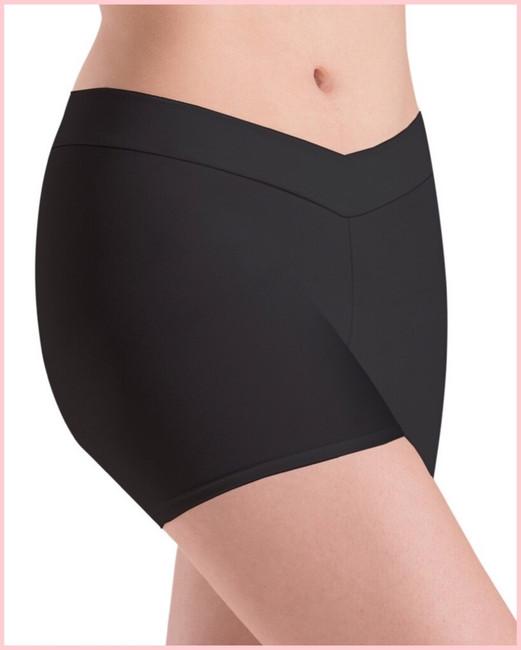 V-Waist Shorts - Black Silken - Adult
