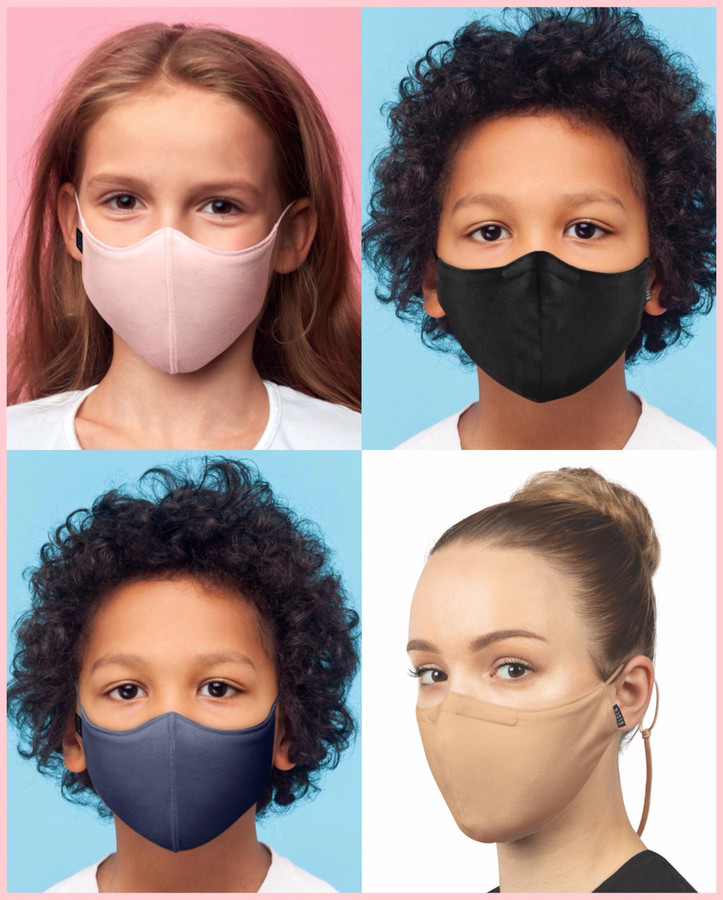 Solid Color Face Mask w/Lanyard - Child
