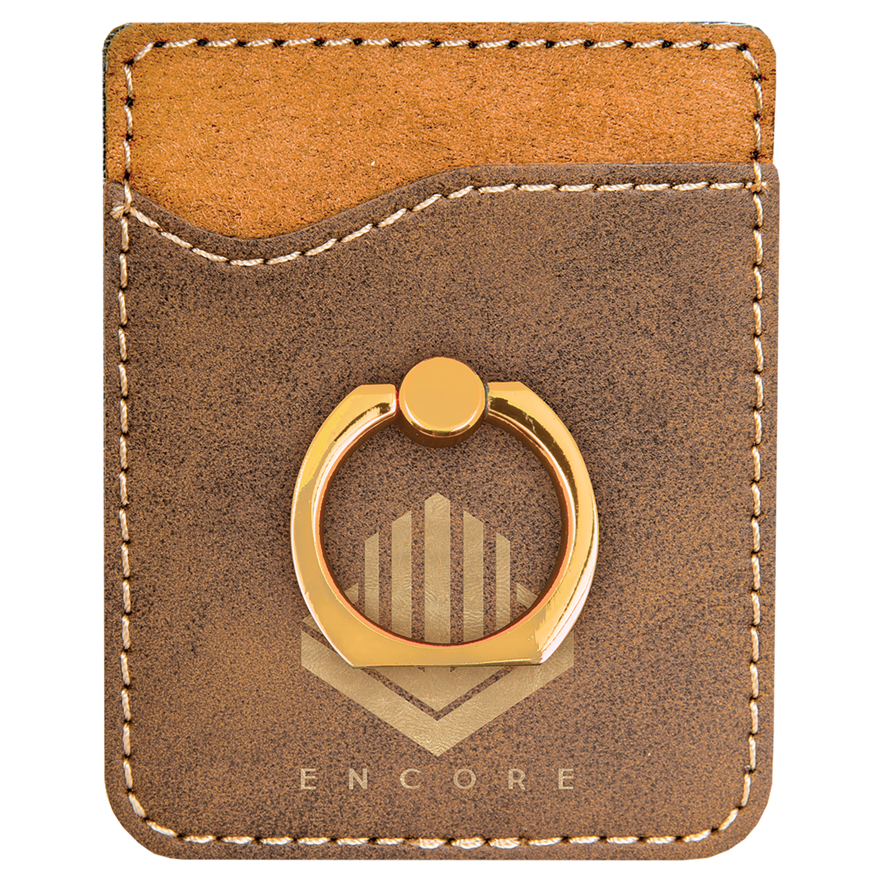 Rustic/Gold Laserable Leatherette Phone Wallet With Gold Ring