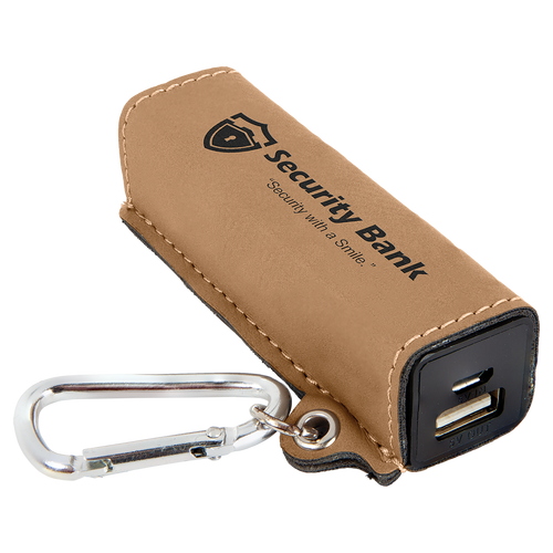 Light Brown Laserable Leatherette 2200 Mah Power Bank With Usb Cord