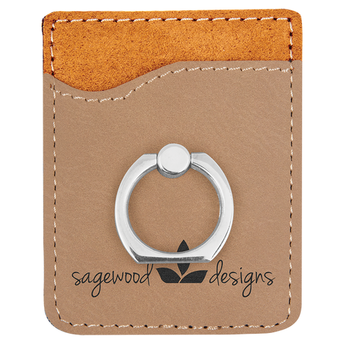 Light Brown Laserable Leatherette Phone Wallet With Silverr Ring