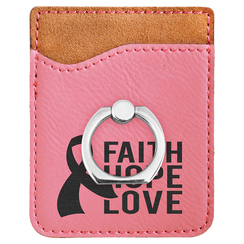 Pink Laserable Leatherette Phone Wallet With Silverr Ring