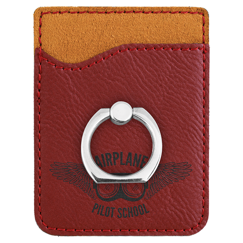 Rose Laserable Leatherette Phone Wallet With Silverr Ring