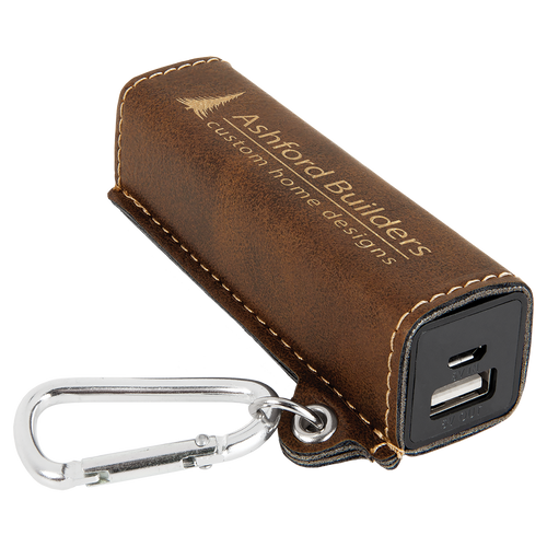 Rustic & Gold Laserable Leatherette 2200 Mah Power Bank With Usb Cord