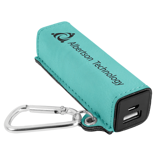 Teal Laserable Leatherette 2200 Mah Power Bank With Usb Cord