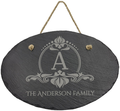11 3/4X7 3/4 Oval Slate Decor With Hanger String