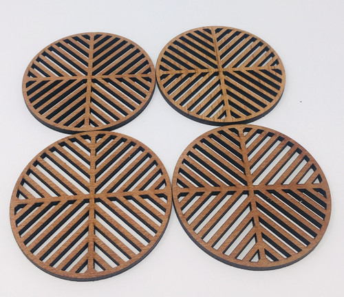 "4"" Wooden Round Coaster (Set Of 4 ) Hdc001"