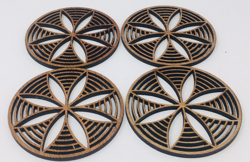 "4"" Wooden Round Coaster (Set Of 4 ) Hdc002"