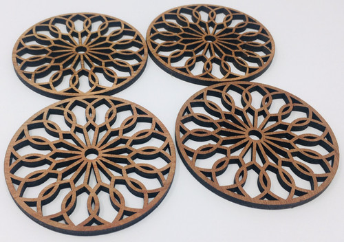 "4"" Wooden Round Coaster (Set Of 4 ) Hdc003"