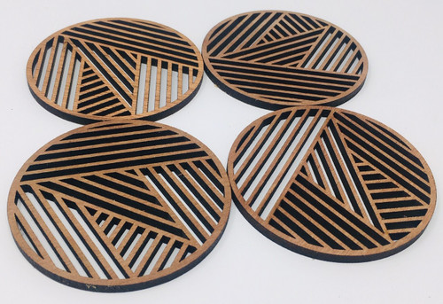 "4"" Wooden Round Coaster (Set Of 4 ) Hdc004"