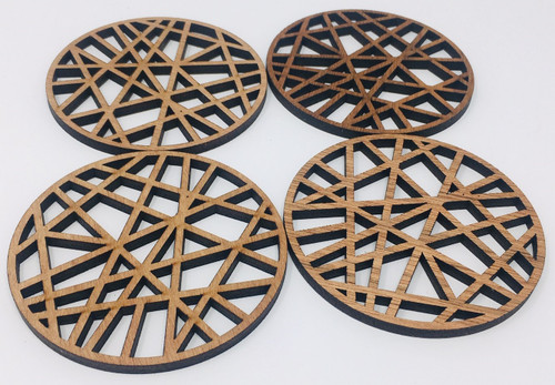 "4"" Wooden Round Coaster (Set Of 4 ) Hdc006"