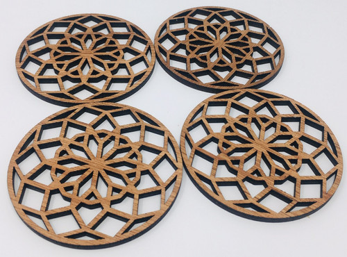 "4"" Wooden Round Coaster (Set Of 4 ) Hdc007"