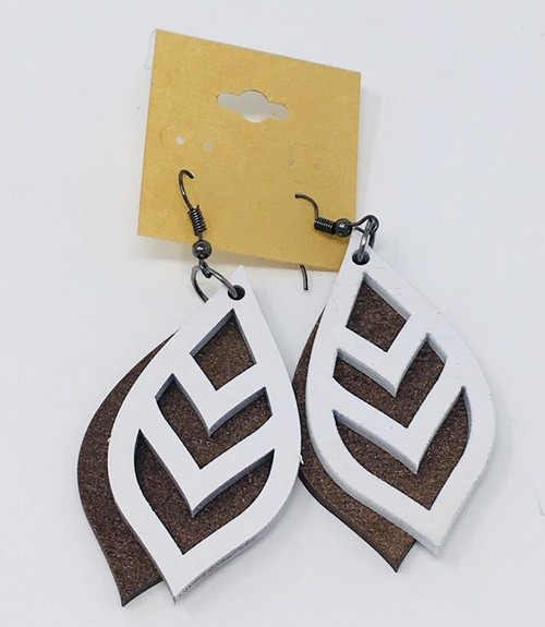 Chevron Leaf  White On Dark Copper Double Layer Earring