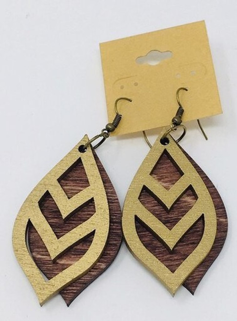 Chevron Leaf Gold On Mahogany Double Layer Earring