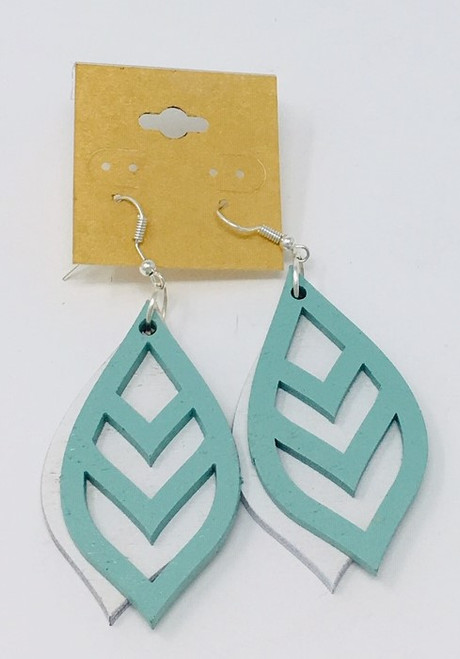 Chevron Leaf Teal On White Double Layer Earring