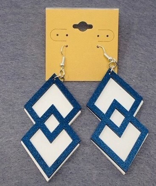 Double Diamond Blue On White Double Layer Earring