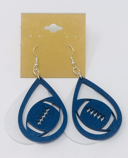 Football Blue On White Double Layer Earring
