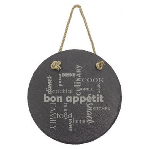 """7"""" Round Slate Decor with Hanger String"""