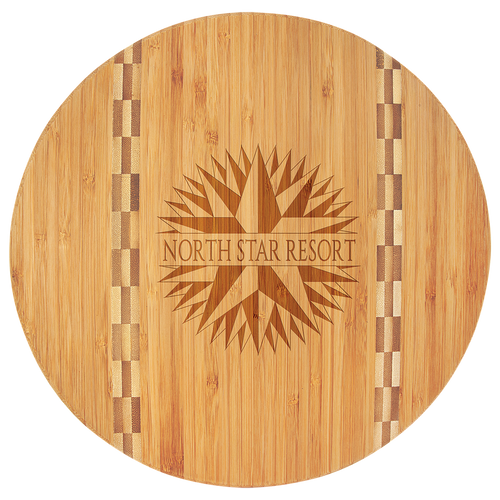 "11.75"" Round Bamboo Cut board With Recipe"