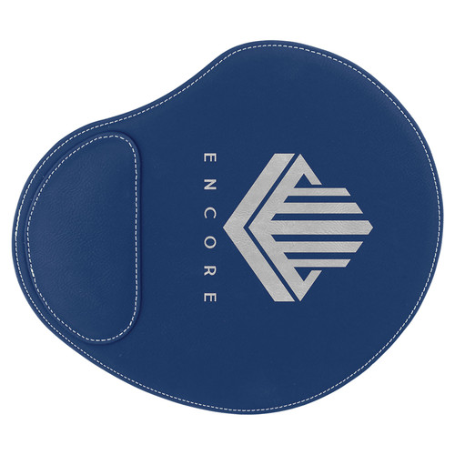 """9"""" x 10 1/4"""" Blue/Silver Laserable Leatherette Mouse Pad"""