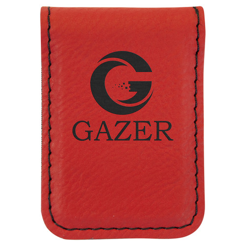"""1 3/4"""" x 2 1/2"""" Red Laserable Leatherette Money Clip"""