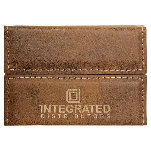 """3 3/4"""" x 2 3/4"""" Rustic/Gold Laserable Leatherette Hard Business Card Holde"""