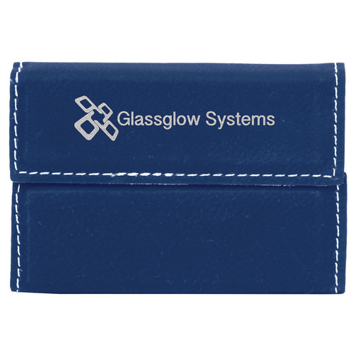 """3 3/4"""" x 2 3/4"""" Blue/Silver Laserable Leatherette Hard Business Card Holder"""