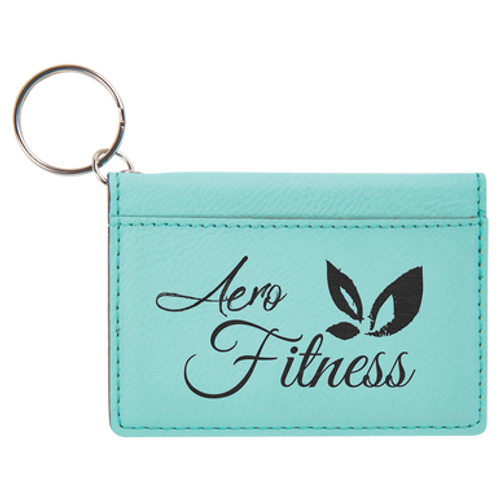 """4 1/4"""" x 3"""" Teal Laserable Leatherette Keychain ID Holder"""