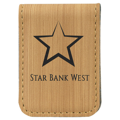 """1 3/4"""" x 2 1/2"""" Bamboo Laserable Leatherette Money Clip"""