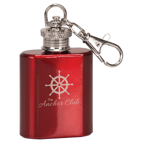 1 oz Gloss Red Flask Keychain
