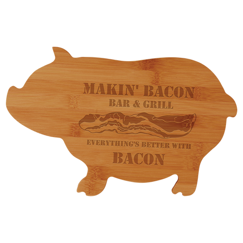 "13 3/4"" X 8 3/4"" Bamboo Pig Shaped Cutting Board"