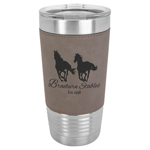 20 oz Gray Leather Tumbler
